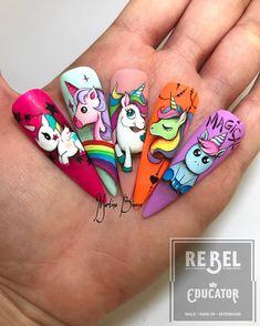 Ideas nails art unicorn step by step Dope Nails, Fun Nails, Pretty Nails, Disney Princess Nails, Disney Nails, Animal Nail Designs, Nail Art Designs, Romantic Nails, Unicorn Nails