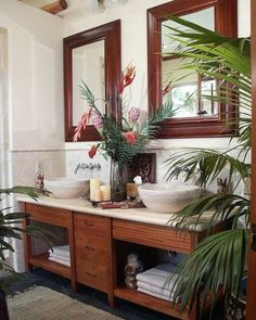 British Colonial Style Furniture And Décor. a nice bathroom idea to complement the darker colonial wood but looks modern at the same time. Tropical Bathroom Decor, Tropical Home Decor, Kid Bathroom Decor, Asian Home Decor, Tropical Houses, Bathroom Styling, Bathroom Ideas, Tropical Colors, Tropical Furniture