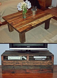 DIY pallet table and tv unit