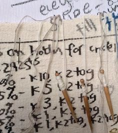 Sarah Swett, Notes to Self (detail), Hand-woven tapestry, 25 x 24 inches…