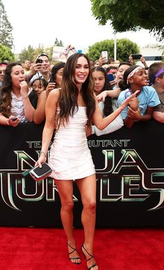 Megan Fox is stunning at the TMNT Red Carpet Premiere! #sp, Look at her heels! Love the strappy heels, dress, celebrity wear