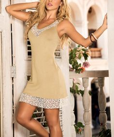 Take a look at the AM PM Mocha Sheer Lace Racerback Dress on #zulily today!