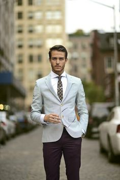 Navy and/or grey pants and sports coat for corporate outfit.