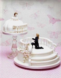 Marzipan cake * wedding - stairs and balcony ♥ - Kuchen - Gateau Unusual Wedding Cakes, Elegant Wedding Cakes, Beautiful Wedding Cakes, Gorgeous Cakes, Wedding Cake Designs, Amazing Cakes, Cake Wedding, Dream Wedding, Fondant Cakes