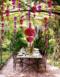 DIY Tissue Paper Pom Poms - lovely garden party decor by benita. Our Table scape Outdoor Rooms, Outdoor Dining, Outdoor Gardens, Dining Area, Dining Room, Hanging Gardens, Rustic Outdoor, Patio Dining, Patio Table