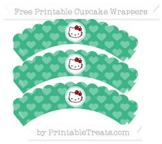 Free Mint Green Heart Pattern Hello Kitty Scalloped Cupcake Wrappers
