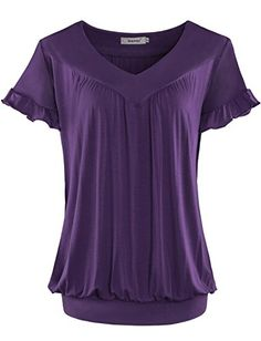 Women Tops Bepei® V Neck Short Sleeves Front Pleated Tunic Shirts Blouses Purple L