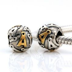 CLLE09 925 Sterling Silver Alphabet letter A Pandora Charms beads Pandora Letters