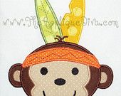 Thanksgiving Indian Monkey Embroidery Design Machine Applique