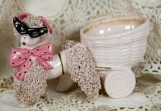 Vintage Pink Spaghetti Poodle Wearing Glasses Planter by Ariamel, $50.00