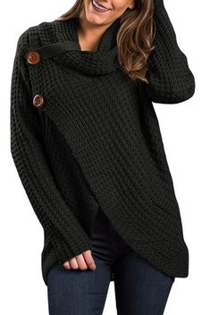Copy of Khaki Buttoned Wrap Cowl Neck Sweater modeshe.com #Black #women #beautiful #fashion #unique #knit