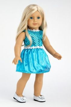 DreamWorld Collections Turquoise - Sparkling holiday party dress with matching silver shoes - Clothes for American Girl Dolls : Special Occasion Doll Dresses