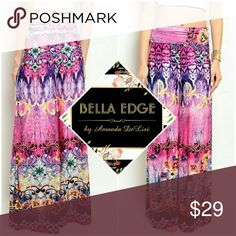 Fuschia purple/pink palazzo wide leg pants 92% POLYESTER, 8% SPANDEX. Made in the USA. These beautiful, watercolor-like on-trend pants features beautiful hues of purples and pinks and abstract coloring with feminine floral/rose detailing scattered throughout. Sizes small to large. Also available in blue. Bella Edge Boutique  Pants Wide Leg