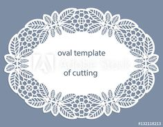 Greeting card with openwork oval border, paper doily under the cake, template for cutting, wedding invitation, decorative plate is laser cut, frame with lace edge, vector illustrations.
