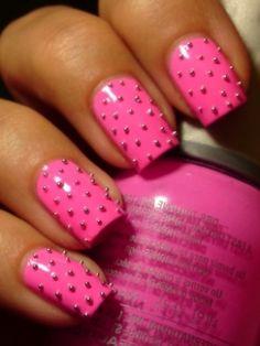 studded pink.