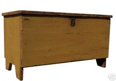 Farmhouse country blanket chest primitive trunk coffee table farm style painted.   Country Mustard with red accents...