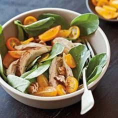 Fava Greens with Chicken, Pecans & Kumquats  -  Preserve pecans' abundance of heart-healthy fats by storing them in airtight containers in the fridge or sealed plastic bags in the freezer. Scatter them over this zesty spring salad! From Williams-Sonoma, found at www.edamam.com.