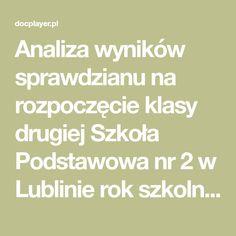 Analiza wyników sprawdzianu na rozpoczęcie klasy drugiej Szkoła Podstawowa nr 2 w Lublinie rok szkolny 2016/ Sprawdzian diagnozujący wiedzę i umiejętności dzieci na rozpoczęcie klasy 2 został przeprowadzony Math Equations