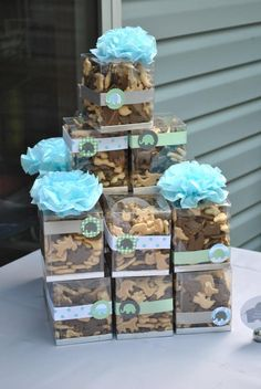 Little Boy's Elephant Baby Shower. DIY party favor. DIY inspiration. Clear box decorated with paper craft rosette or silk ribbon. Animal crackers take home treat.