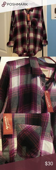 Pink Plaid Button Up Shirt Brand new, never worn, soft material, perfect for summer and winter, one large pocket, loose fitting shirt, roll up sleeves with buttons, no missing buttons jcpenney Tops Button Down Shirts