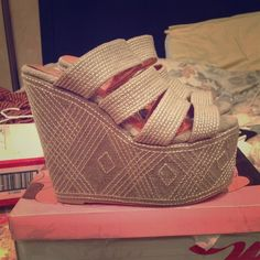"""Jeffrey Campbell Platform Wedges - Elizer THESE ARE NEW, i just don't have the box. These run super small, they are a size 10, but clearly made for an 8-8.5. Cute classic taupe sandal with white stitching, 6"""" heel and 3"""" platform, super comfy. Jeffrey Campbell Shoes Platforms"""
