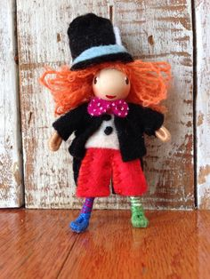 Alice in Wonderland  Mad Hatter A Waldorf inspired bendy doll  By: A Curious Twirl  https://www.etsy.com/shop/ACuriousTwirl
