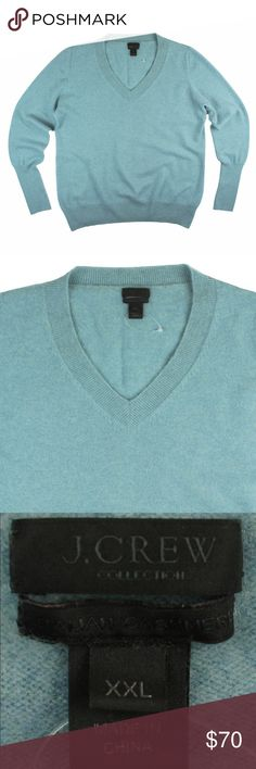 """JCREW COLLECTION 100% Cashmere Aqua V-Neck Sweater Excellent condition! This Aqua cashmere sweater from JCREW Collection features a c-neckline. Made of 100% cashmere. Measures: bust: 46"""", total length: 27"""", sleeves: 27"""" J. Crew Sweaters V-Necks"""