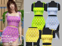 Happy Summer Set for The Sims 4 Sims 4 Mods Clothes, Sims 4 Clothing, Sims Mods, Sims 4 Teen, Sims 4 Toddler, Sims Cc, Die Sims 4 Packs, Sims 4 Seasons, Summer Set