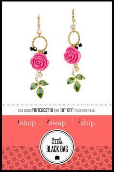 Betsey Johnson Rose Drop Earrings from LittleBlackBag.com