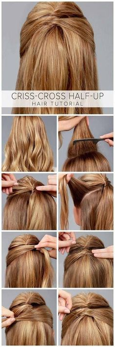 Criss-Cross Half-Up Hair Tutorial - Frisuren Down Hairstyles, Trendy Hairstyles, Braided Hairstyles, Wedding Hairstyles, Amazing Hairstyles, Summer Hairstyles, Professional Hairstyles, Hairdos, Short Haircuts