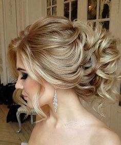 Long Hair Prom Updo Messy Curly Bun