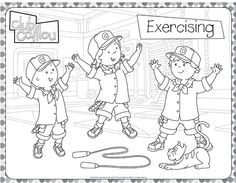 Caillou Loves to Exercise Coloring Sheet (Club Caillou)