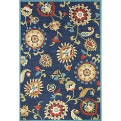 JaipurLiving Blossom Hand-Tufted Blue/Yellow Area Rug Rug Size: