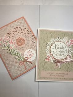 StampinUp Dear Doily bundle with Crisp Cantaloupe, Cameo Coral **photo only Goodbye Cards, Thank U Cards, Crafters Companion Cards, Sympathy Cards, Stamping Up, Creative Cards, Vintage Cards, Homemade Cards, Stampin Up Cards