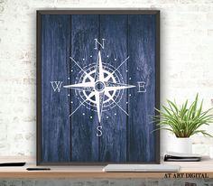 Compass Art Print, Compass Pose, Nautical Poster, Digital Download, Rustic Wood, Printable Compass, Nautical Bedroom Art,Rustic Nautical Art