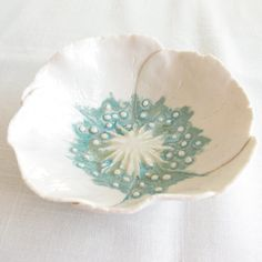White porcelain poppy bowl aqua lime ceramic freeform petals jewellery dish gift for her 25