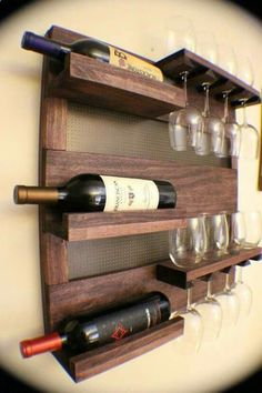 Rustic Dark Cherry Stained Wall Mounted Wine Rack with Shelves and Decorative Mesh, Wine and Liquor Shelf and Cabinet ON SALE Rustic Dark Cherry Stained Wall Mounted Wine Rack with by TheKnottyShelf Wine And Liquor, Glass Holders, Glass Rack, Wine Storage, Storage Ideas, Storage Organization, Pallet Furniture, Cheap Furniture, Furniture Plans