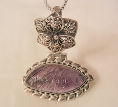 Todays outstanding arrivals Gorgeous vintage sterling carved large natural amethyst stone pendent Necklace