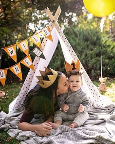 Where the Wild Things Are photo shoot styled by Joonie & Joe. Banner, tent, and balloon via Joonie & Joe.