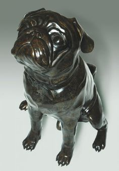 #Bronze #sculpture by #sculptor Anthony Smith titled: 'Pug (commission bronze Portrait sculpture)'. #AnthonySmith