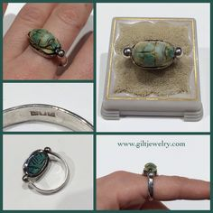A beautiful ancient faience scarab set in a silver swivel ring with c1940 Egyptian hallmarks. $195. Call to purchase. #giltjewelry #ancient #vintage #scarab #beautiful #egyptian #green #history