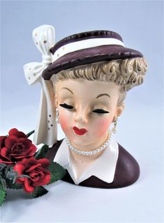 "Lady HEAD VASE NAPCO ""Lucy"" with Maroon Red Dress Hat with Bow and Hanging Earrings and was made in 1958 by VintageQualityFinds on Etsy"