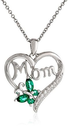 Sterling Silver Created Emerald and Created White Sapphire Mom Heart Pendant Necklace 18 *** For more information, visit image link.
