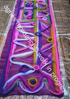 agnès mordancé© créations feutrées - étole soie feutrée /felted nuno scarf work in progress