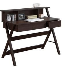 CorLiving Folio Three-drawer Desk with Low Profile Hutch
