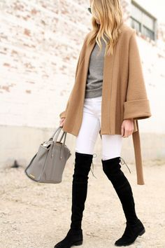 Camel Wrap Coat, Grey Sweater, White Jeans, Black Stuart Weitzman OTK Boots, GiGi New York Tote