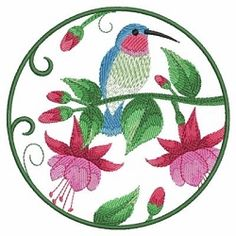 Watercolor Hummingbird and Flowers 2 - 3 Sizes! | What's New | Machine Embroidery Designs | SWAKembroidery.com Ace Points Embroidery