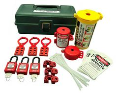 lockout tagout tool box kit with 32 components 7129 zing each - Lock Out Tag Out Kits