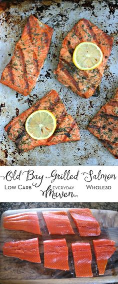 This Old Bay Grilled Salmon is the perfect weeknight salmon dish! Easy, delicious, low carb and on the table in under 20 minutes! via @EverydayMaven