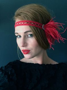 RED 1920 Gatsby Ostrich Feather - Red Great Gatsby Headpiece